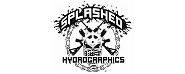 splashed hydrographics logo in a white rectangle, hydro dipping shop in akron ohio splashed hydrographics