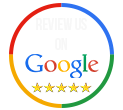 review splashed hydrographics on google, picture of a circle that is the google colors with the words review us on google having 5 stars below the words