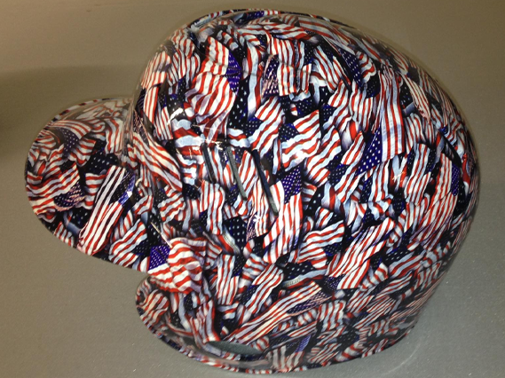 hydro dipped hard hat with american flag design
