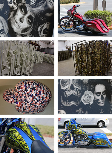 collage of water transfer printing examples with pictures of white weapons camouflage weapons and motorcycles that were decorated with water transfer printing