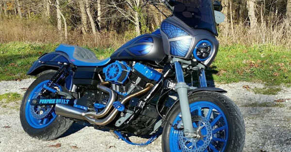 blue motorcycle with hydro dipped fairings