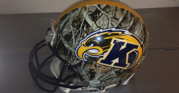 kent state golden flashes football helmet hydro dipped with camouflage