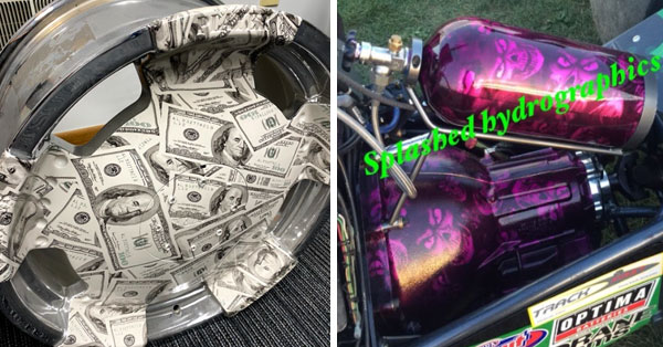 hydro dipped rim and nitrous oxide tank