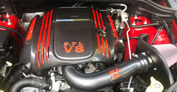 engine cover with carbon fiber