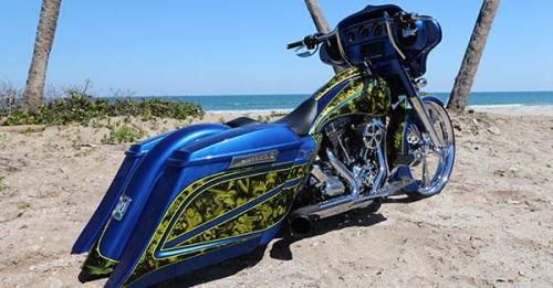 splashed-hydrographics-custom-blue-and-yellow-motorcycle-from-behind